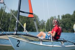 Resting on a sailboat. Recreation royalty free stock images