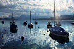 Resting Sailboats At Dusk Stock Photos