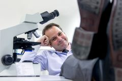 Resting scientist in a laboratory Royalty Free Stock Photos