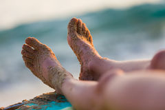 Resting on the shores of the Mediterranian sea Royalty Free Stock Photos