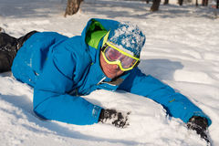 Resting snowboarder Royalty Free Stock Photography
