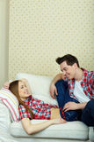 Resting on sofa Royalty Free Stock Photography