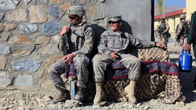 Resting soldiers in Afghanistan stock photo