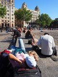 Resting in Spring Sunshine, Placa de Catalunya, Barcelona Royalty Free Stock Photo