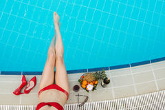 Resting in swimming pool Royalty Free Stock Images