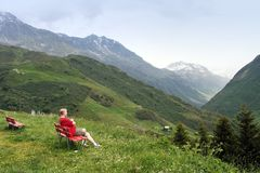 Resting in swiss alps royalty free stock photos