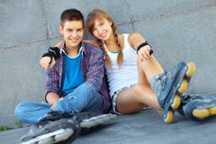 Resting teens Royalty Free Stock Photo
