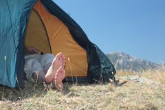 Resting in a tent Royalty Free Stock Photography