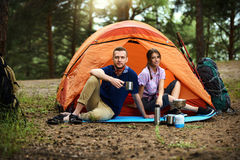 Resting in a tent Stock Photography