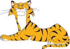 Resting tiger, a bit angry. Illustration of a resting tiger, comic style, a little bit angry mood Royalty Free Stock Photo