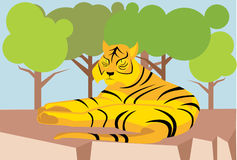 Resting tiger cartoon Stock Photos
