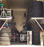 Resting in the tires room Stock Photo