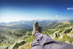 Resting up on the Mountain Peak Royalty Free Stock Photography