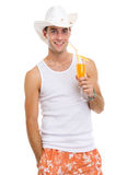Resting on vacation guy relaxing with cocktail Royalty Free Stock Photo