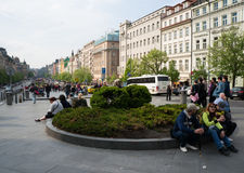 Resting and walking people in Prague Royalty Free Stock Images