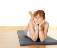 Resting woman after fitness exercises Stock Photography
