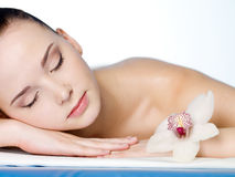 Resting woman in spa salon Stock Photography