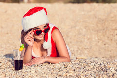 Resting woman on winter vacation in warm places Royalty Free Stock Photography