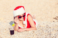 Resting woman on winter vacation in warm places Royalty Free Stock Images