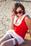 Resting woman on winter vacation in warm places Royalty Free Stock Photo