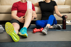 Resting after working out together Royalty Free Stock Photos
