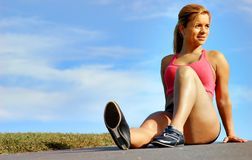 Resting Workout Woman Stock Photography