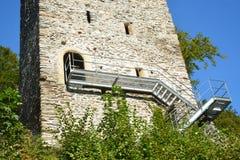 Restiturm / Resti Castle Ruin. The Restiturm also known as Resti is a old castle ruin located in Meiringen, Switzerland. Meiringen is located in the Bernese Stock Photos