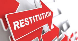 Restitution Concept. Red Arrow with Restitution slogan on a grey background. 3D Render Stock Images
