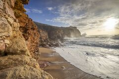 Free Restless Sea At North Beach Of Famous Nazare, Portugal Stock Photo - 194487540