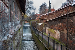 Restless waters Radunia Channel in the place of the former ancient water wheels. royalty free stock photos