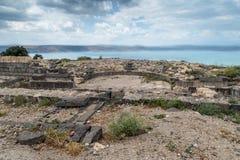 Restna av amfiteatern i fördärvar av greken - romersk stad av det 3rd århundradet F. KR. - den 8th århundradeANNONSEN Hippus - Su Arkivfoto
