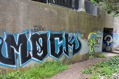 Restna av det västra fortet Miley förskönade under grafitti, 16 Royaltyfri Foto