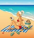 Resto de la mujer joven en la playa Fotos de archivo