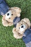 Resto de los osos de peluche de los pares en césped Fotos de archivo libres de regalías