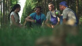 Resto del gruppo dei giardinieri dopo lavoro video d archivio