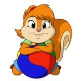 Resto dello scoiattolo del fumetto sulla palla Fotografia Stock