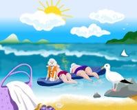 Resto do mar de dois mulheres e cães