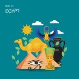 Resto en el ejemplo plano del diseño del estilo del vector de Egipto