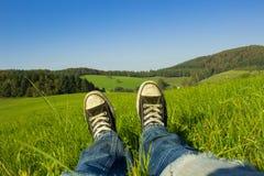 Resto en la mala hierba Imagen de archivo