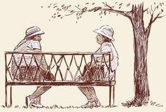 Resto idoso das mulheres no parque ilustração royalty free