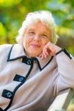 Resto mayor sonriente del pensionista en la naturaleza Imagen de archivo libre de regalías