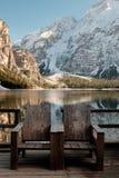 Resto nel Nord dell'Italia Lago Braies Immagini Stock