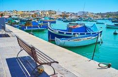 Resto nel porto di Marsaxlokk, Malta fotografie stock libere da diritti