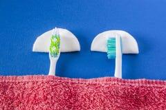 Resto o sueño de dos cepillos de dientes Foto de archivo