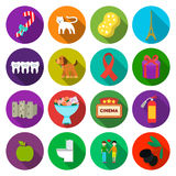 Resto, saúde, televisão e o outro ícone da Web no estilo liso ramo, azeitona, ícones do feriado na coleção do grupo ilustração do vetor