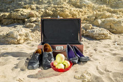 Resto sulla spiaggia del mare Fotografia Stock