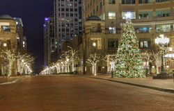 Reston Town Center Street Holiday Lights Virginia Royalty Free Stock Photography