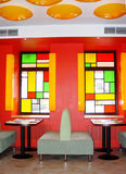 Restoran. In red tone, stained-glass window Stock Photo