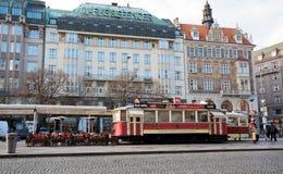 Restoran like as tram on Wenceslas square Stock Photos