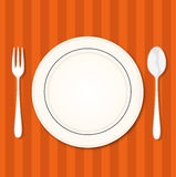 Restorant table with fork, knife and plate. Vector illustration. Flat design royalty free illustration
